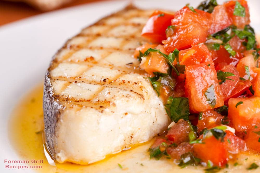Grilled Halibut with Blistered Tomatoes and Arugula Recipe