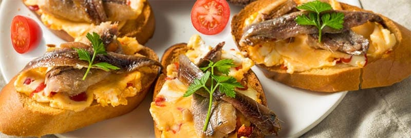 Grilled Crostini with sardines on foreman grill