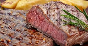 New York strip steak in a foreman grill