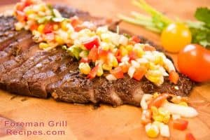 Grilled flank steak with salsa in a Foreman grill