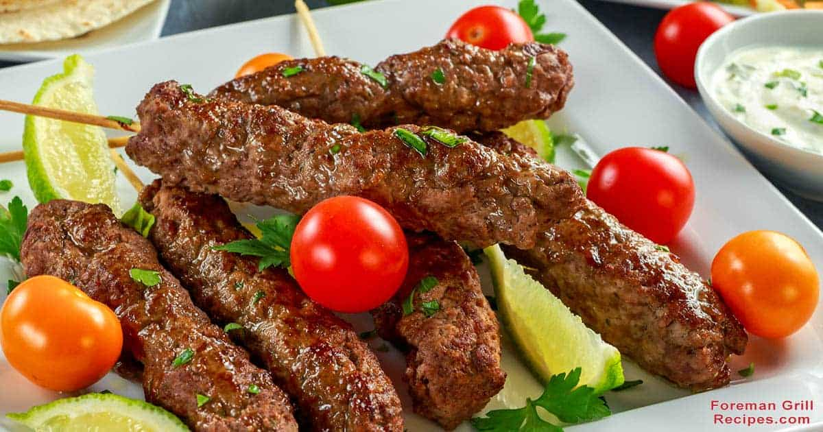 Grilled Beef Kofta Kebabs with Yogurt Sauce in a Foreman Grill Recipe