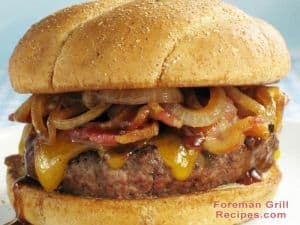 Pub burger in a foreman grill