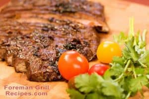 Grilled skirt steak in a Foreman grill